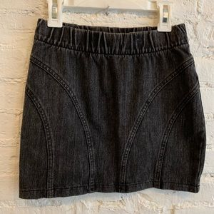 Stretch Black Denim Mini Skirt